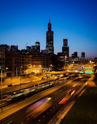 chicagoillinois cityofchicago nearwestside cityscape skyline bluehour longexposure morning dawn urban transportation traffic i290 eisenhowerexpressway interstatehighway lighttrails cookcounty ctablueline chicagotransportationauthority masstransit publictransportation architecture searstower willistower landscape twilight motion bridges buildings skyscrapers thel ltrain theike expressway freeway 4secondexposure nikond5100 tamron18270 lightroom5 photoshopbyfehlfarben signremovalbyfehlfarben roadreconstruction speedlimit whatspeedlimit thanksbine 311southwackerdrive downtown thewindycity chitown may spring