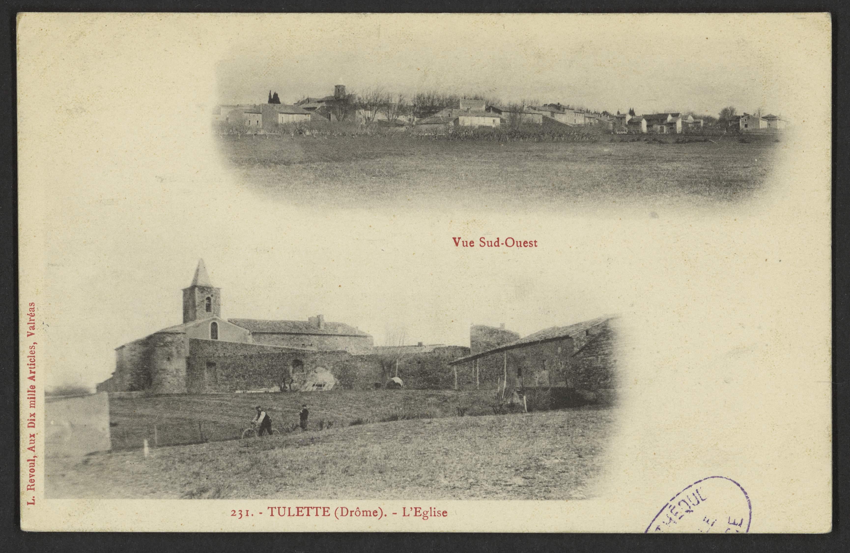 Tulette (Drôme). - L'Eglise - Vue du Sud-Ouest