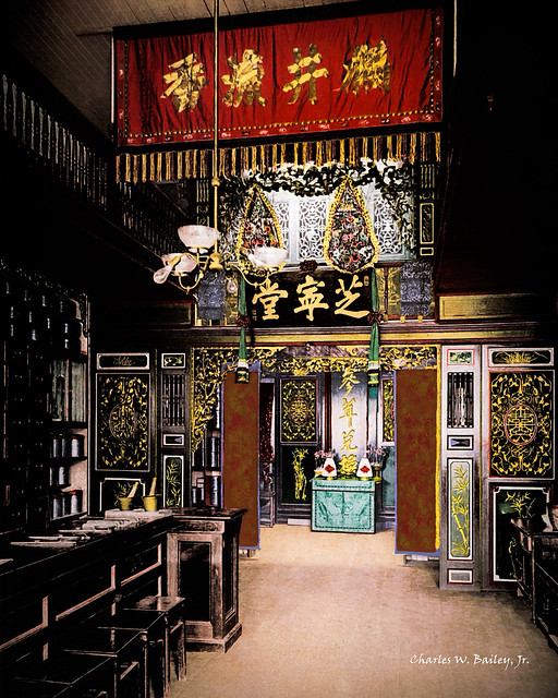 Digital Oil Painting of a Chinese Pharmacy by Charles W. Bailey, Jr.