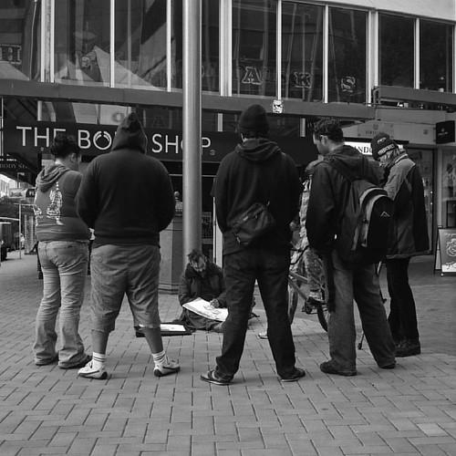Circling... #rolleiflex #ilovefilm #filmsnotdead #shootmorefilm #ilford #hp5plus #ilfordphoto #streetlife #streetphotography #streetphotography_bw #artist #wellington #mediumformat #blackandwhite #monochrome #filmlife | by Dark Halide
