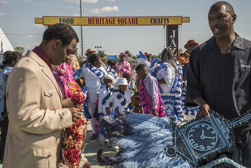 Original Big 7 preparing to parade on Day 4 of Jazz Fest - May 4, 2017. Photo by Marc PoKempner.