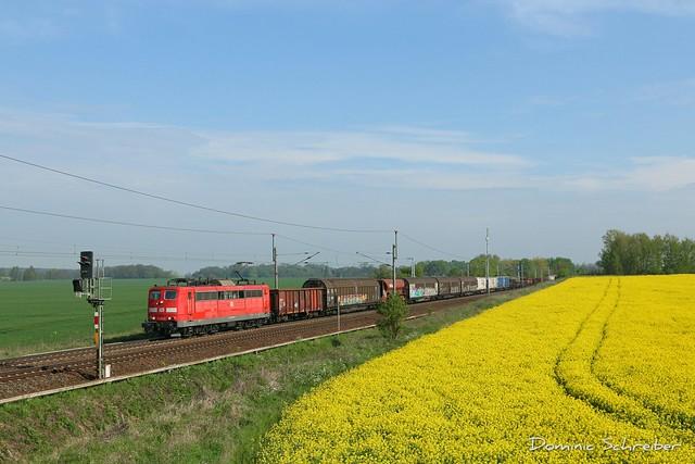 151 053-6 mit einem langem gemischten Güterzug bei Priort.
