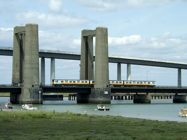 A train crossing the Kingsferry Bridge