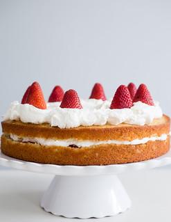 French Lemon Strawberry Jam Yogurt Cake   by Smells Like Home