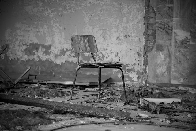 A lonely bench in the abandoned city of Pripyat