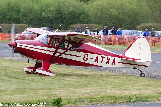 G-ATXA - 1956 build Piper PA-22-150 Caribbean, arriving at Halfpenny Green during Radials, Trainers & Transports 2017