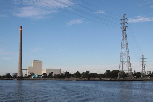 High voltage transmission lines cross the Yarra River