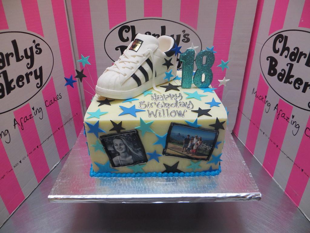 Marvelous Square 18Th Birthday Cake With 3D Adidas Originals Sneaker Flickr Funny Birthday Cards Online Inifodamsfinfo