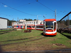 Daugavpils UKVZ Low Floor tram.  Depot