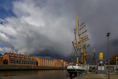 harbour bremen germany clouds sailing ship alexander von humboldt bad weather