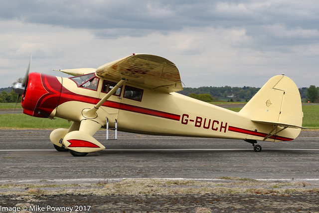 G-BUCH - 1942 build Stinson V-77 Reliant, taxiing for departure at Halfpenny Green during Radials, Trainers & Transports 2017