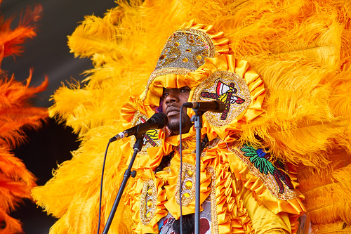 Big Chief Bird and the Young Hunters Mardi Gras Indians on Day 4 of Jazz Fest 2017 - May 4 Photo by Eli Mergel