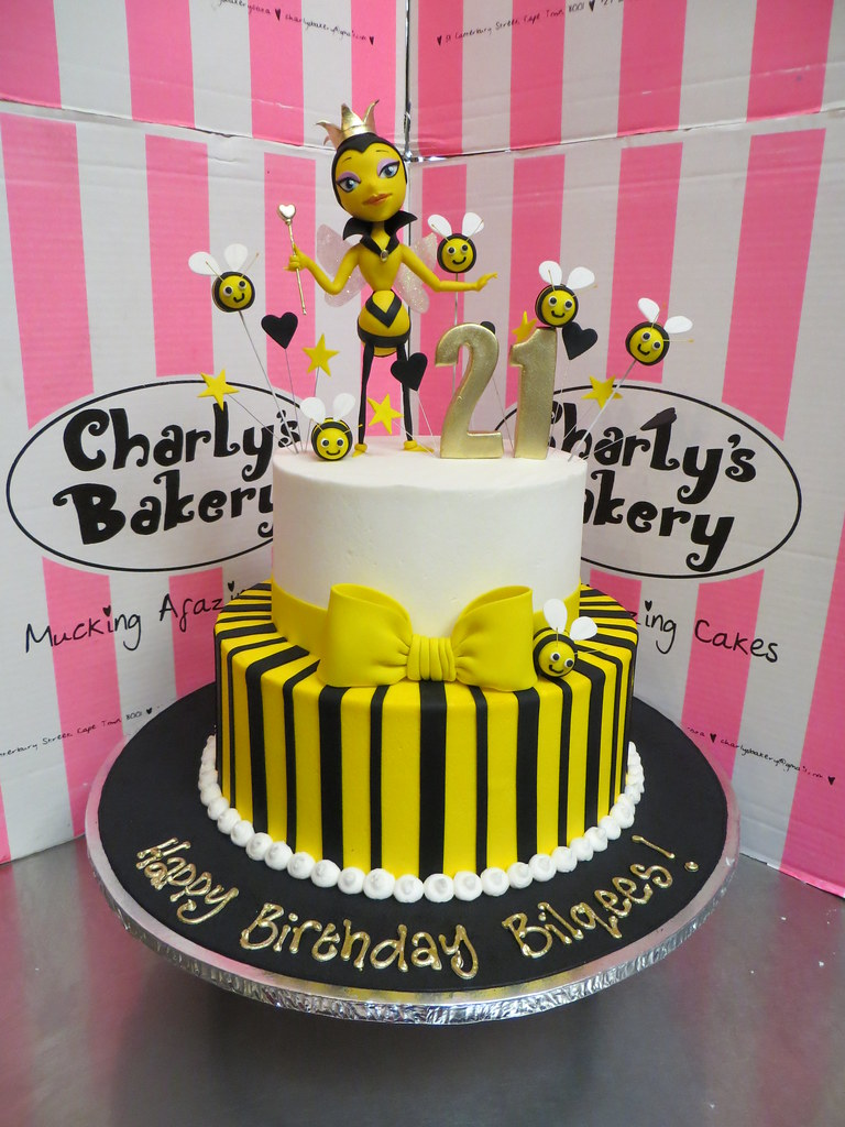 Enjoyable 2 Tier Queen Bee Themed 21St Birthday Cake With 3D Figurin Flickr Funny Birthday Cards Online Inifofree Goldxyz