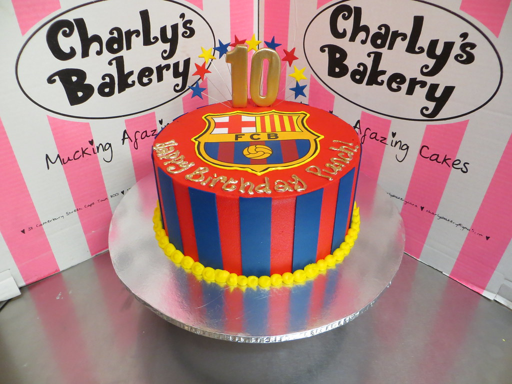 Prime Single Tier Barcelona Themed 10Th Birthday Cake With Edibl Flickr Funny Birthday Cards Online Overcheapnameinfo