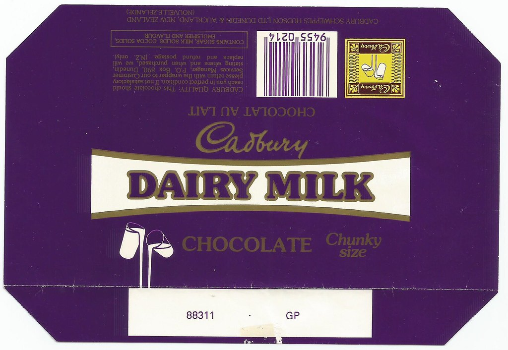 Late 1980s Cadbury Dairy Milk Chocolate Wrapper New Zeal