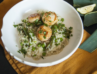 Scallops and Spring Veg Risotto 1 | by theSeasonaljunkie