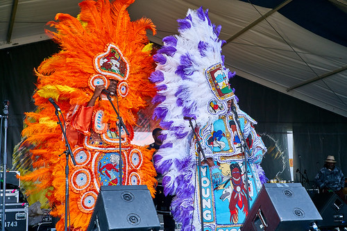 Big Chief Bird & the Young Hunters Mardi Gras Indians on Day 4 of Jazz Fest 2017 - May 4. Photo by Eli Mergel.