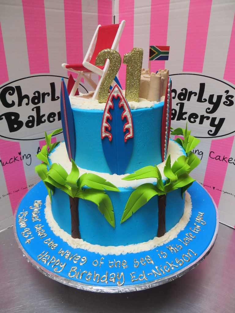 Swell 2 Tier Beach Themed 21St Birthday Cake With 3D Beach Chair Flickr Funny Birthday Cards Online Elaedamsfinfo
