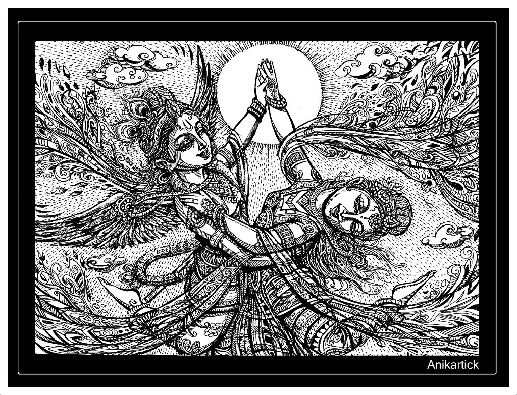 Lord krishna and goddess radha divine love art pen drawing ani artist