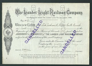 Lauder Light Railway Share Certificate of 1902 | by ian.dinmore