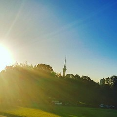 Sky Tower #horizon #sunset #aucklanddomain