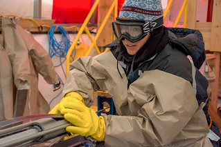 Shawntel Stapleton works with the Intermediate Depth Drill at South Pole   by U.S. Ice Drilling