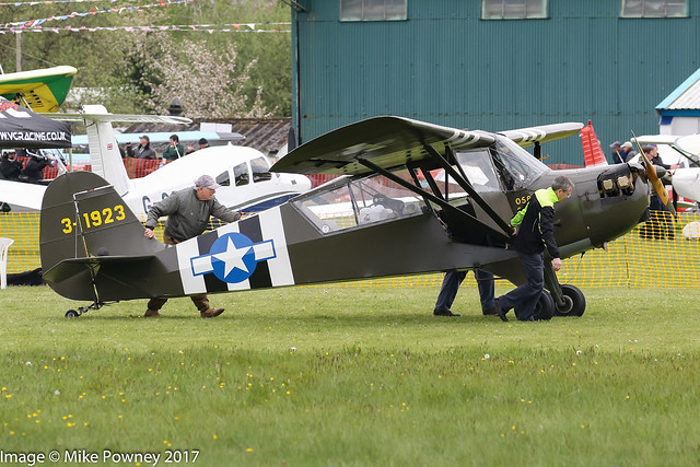 G-BRHP - 1942 build Aeronca 0-58B Grasshopper, leaving the display area prior to departure at Halfpenny Green during Radials, Trainers & Transports 2017
