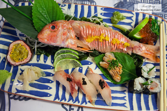 Red mullet served four ways - Sashimi, nigiri topped with caviar, maki with chives, and tataki