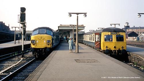 britishrail sulzer type4 peak class45 swindon crosscountry class120 dmu diesel derby derbyshire train railway locomotive railroad
