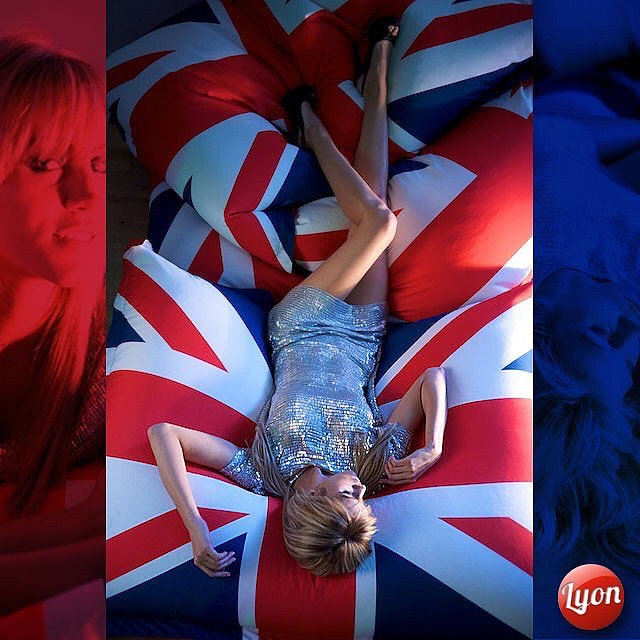 Rachael on Jack - I bought a DJ with this exact same pattern, do you think it will catch on? And yes I know it's proper name is The Union Flag. Model: Model Rachael Howard. #unionjack  #unionflag #silverdress #horizontal #above #fallen #blonde #legs #over