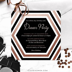 Dinner party invitation that features a hexagon shape as the focal point of the design. The invitation is modern with beautiful copper highlights #dinnerparty #partyinvitations #invitationdesigner
