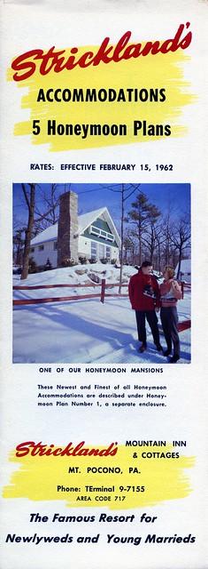 Stricklands Accommodations brochure cover Mt Pocono PA