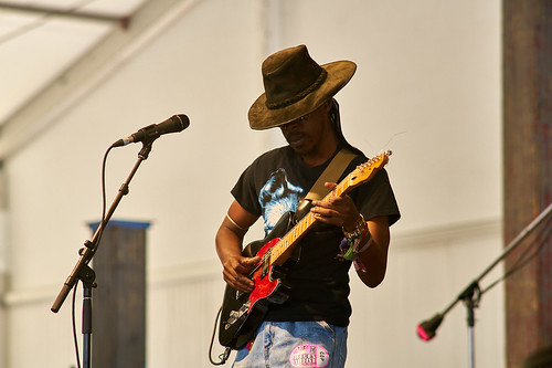 Cedric Burnside Project in the Blues Tent on Day 4 of Jazz Fest 2017 - May 4 Photo by Eli Mergel