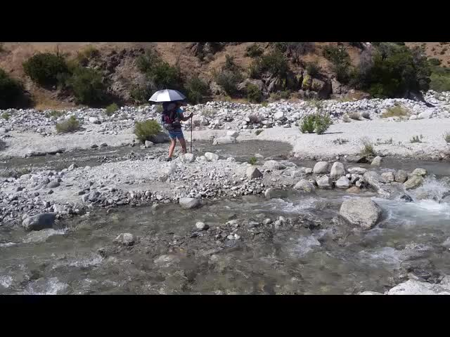 1323 Video of the two of us crossing the Whitewater River on the PCT