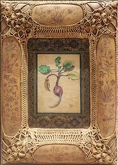 mixed media artwork with crochet border
