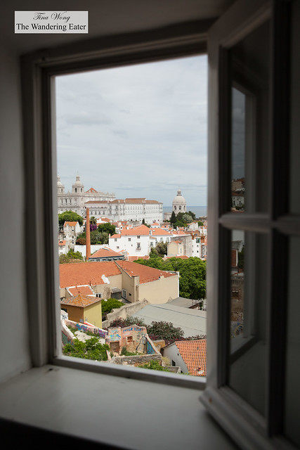 Looking out from the window of Palacio Belmonte with the view of Igreja de Santo Estêvão