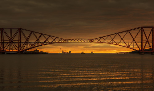forthrailbridge edinburgh scotland bridge rail sunrise waves water boats orange ripples melvinnicholsonphotography