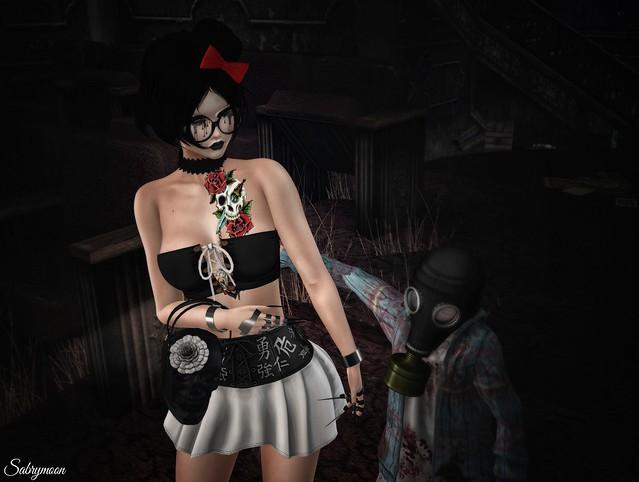 Sabrymoon wearing Boutique 187 Skull Handbag and Darky Glasses Stigmata Corset Shirt Chemical Princess Virgo Skirt @ Dark Style Juna Pirats Tattoo Rezology Kittyloaf hair