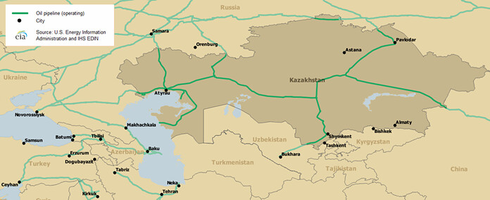 Kazakhstan-Map of major crude oil pipelines | Map of major c… | Flickr