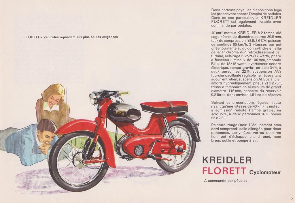 KREIDLER Cyclomoteur Moped Model Florett Dealer Brochure