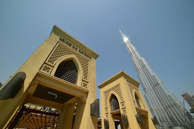Dubai - Souk Al Bahar Bridge and Burj Khalifa