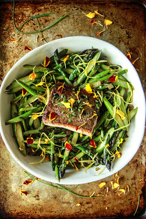 Crispy Salmon and Asparagus Salad with Lemon Honey Garlic Vinaigrette from HeatherChristo.com | by Heather Christo