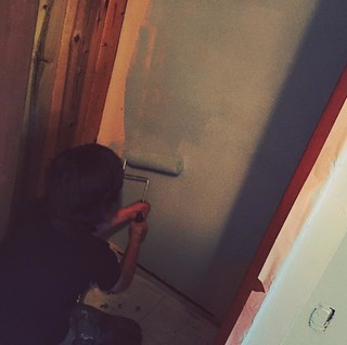James painting his new closet. #newhouse | by edmelendez