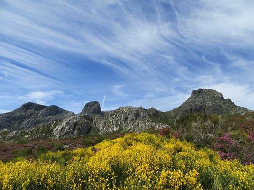 portugal hiking mountains landscape wildflowers clouds sky blue cirrus yellow purple explore