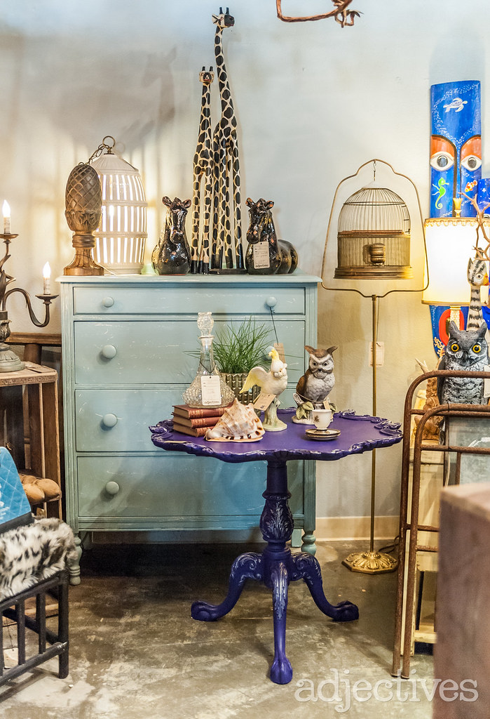 Blue Chest of Drawers and Purple side table in Altamonte by Rusted Eclectic