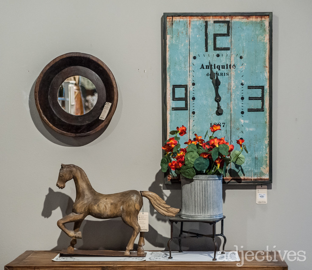 Vintage blue clock and home decor at Adjectives