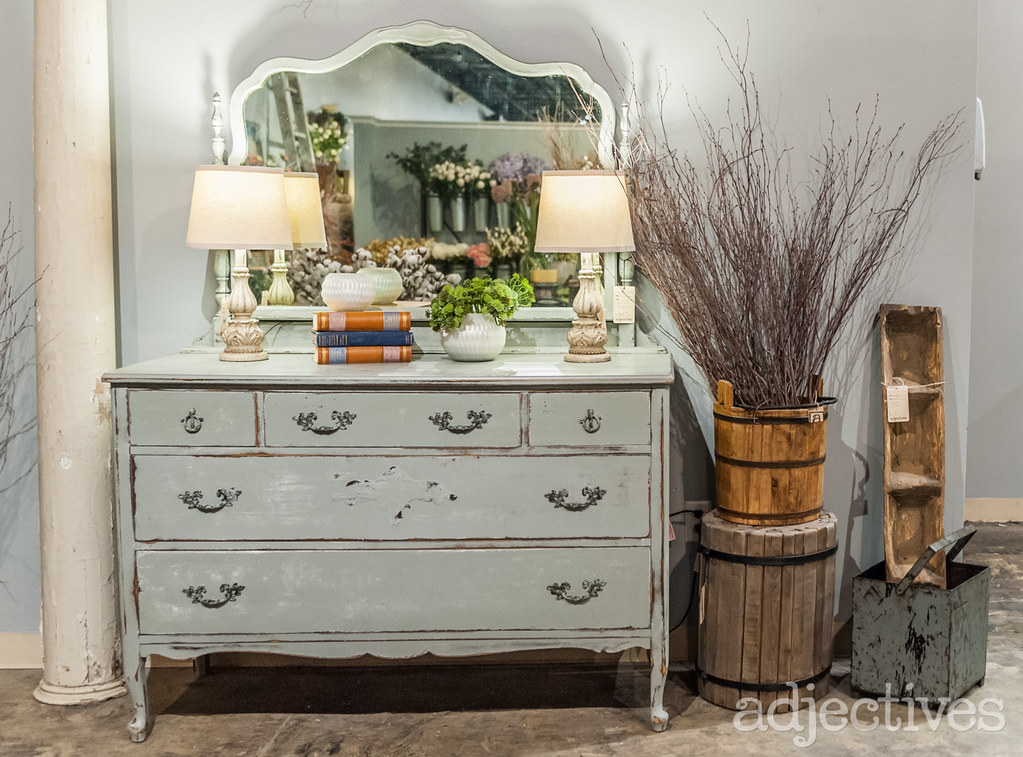Shabby Chic painted dresser and vintage home decor at Adjectives Altamonte