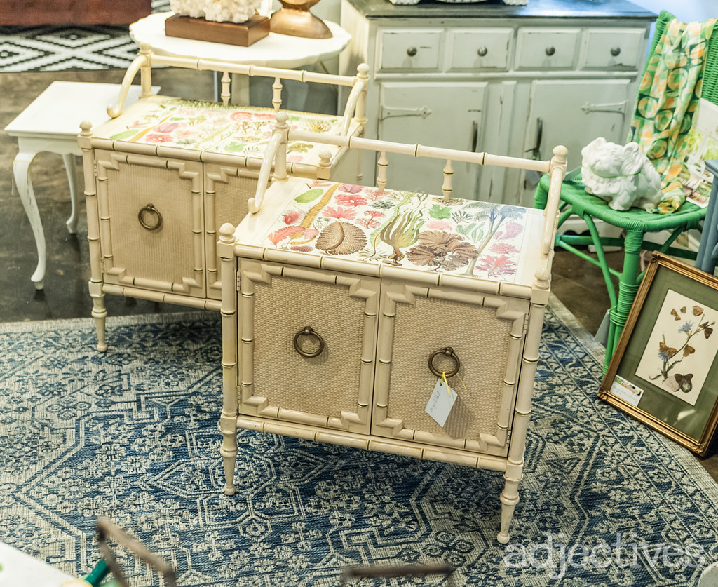 Vintage bamboo shabby chic night stands by ArtsyTiques at Adjectives Altamonte