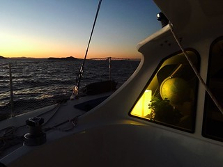 125/365 • sunset at 5pm just seems a bit wrong... we're sailing on through the night to take advantage of the wind 💨 • . #cruising #Autumn2017 #sunset #inside #outside #sky #abcmyphoto #bellalunaboat #nsw #mint | by miaow