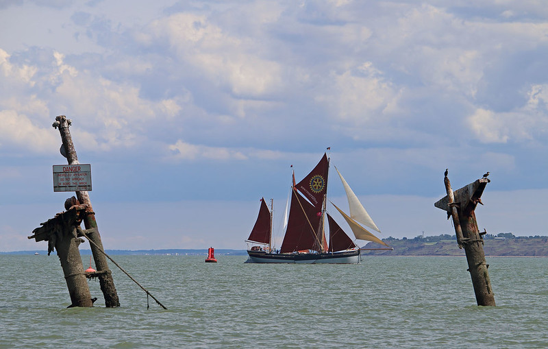 The 109th Medway Barge Match, with 12 Thames sailing barges on the River Medway. SB 'Cambria' passing the WWII wreck of the steamship 'Richard Montgomery', an American Liberty ship, which ran aground, full of explosives.